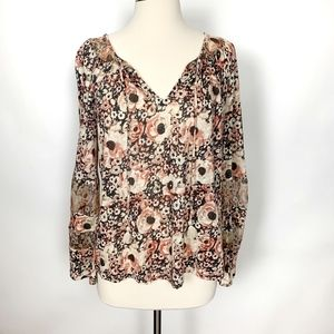 Lucky Brand Coral Floral Long Sleeve Peasant Blous